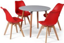 Toulouse Dining Set  - 90cms Round Grey Table & 4 Red Chairs